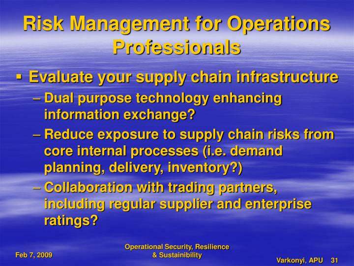 Risk Management for Operations Professionals