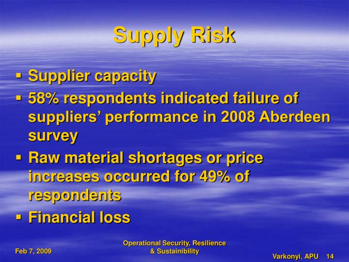 Supply Risk
