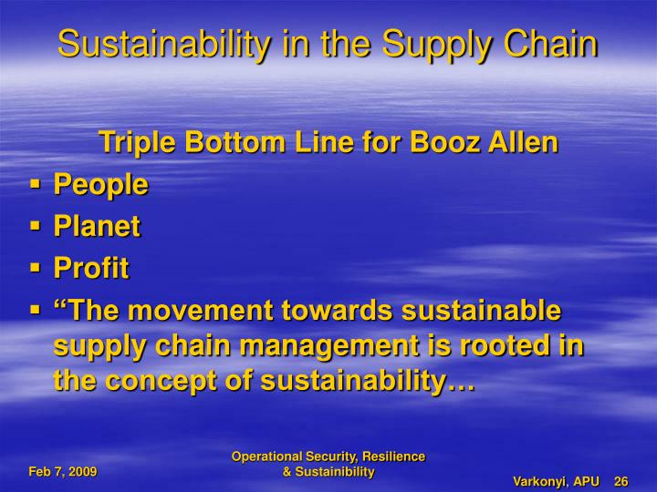 Sustainability in the Supply Chain