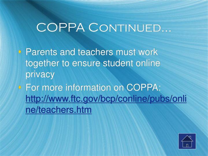 COPPA Continued…