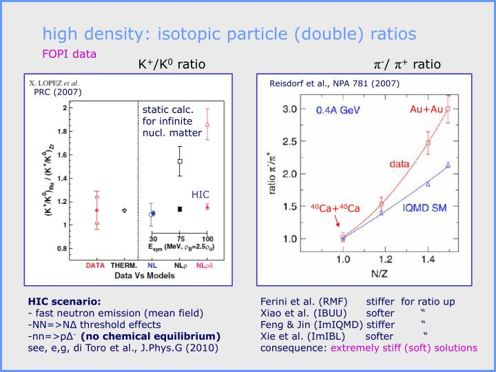 high density: isotopic particle (double) ratios