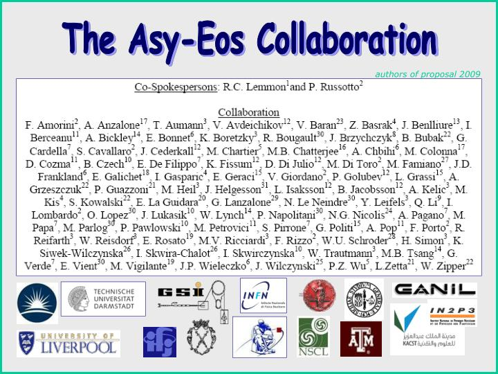 The Asy-Eos Collaboration