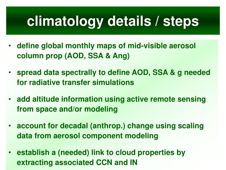 climatology details / steps
