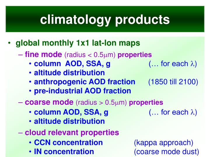 climatology products