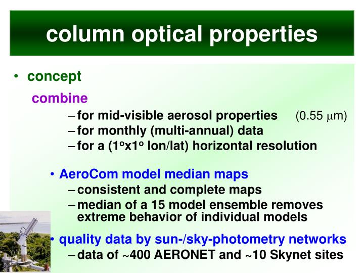 column optical properties