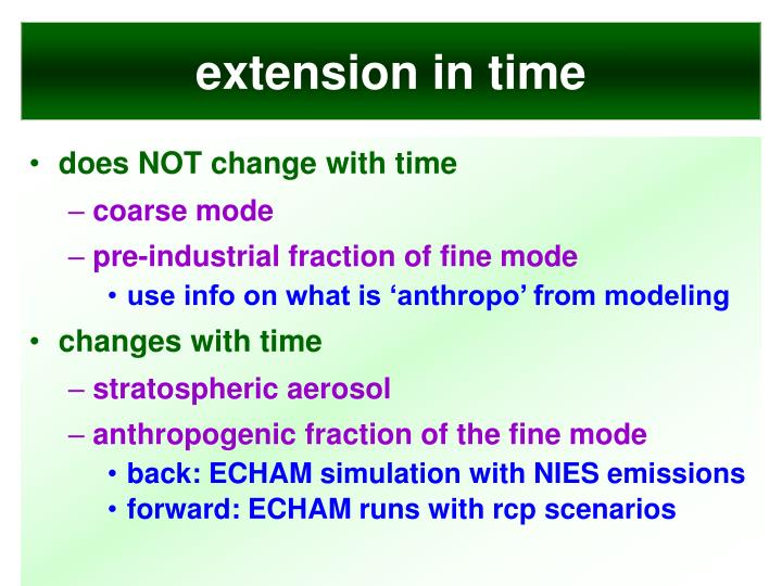 extension in time