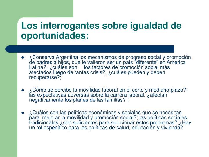 Los interrogantes sobre igualdad de oportunidades: