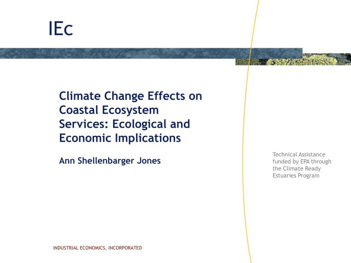 Climate Change Effects on Coastal Ecosystem Services: Ecological and Economic Implications