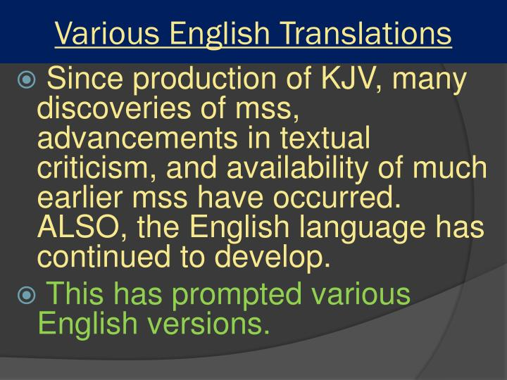 Various English Translations