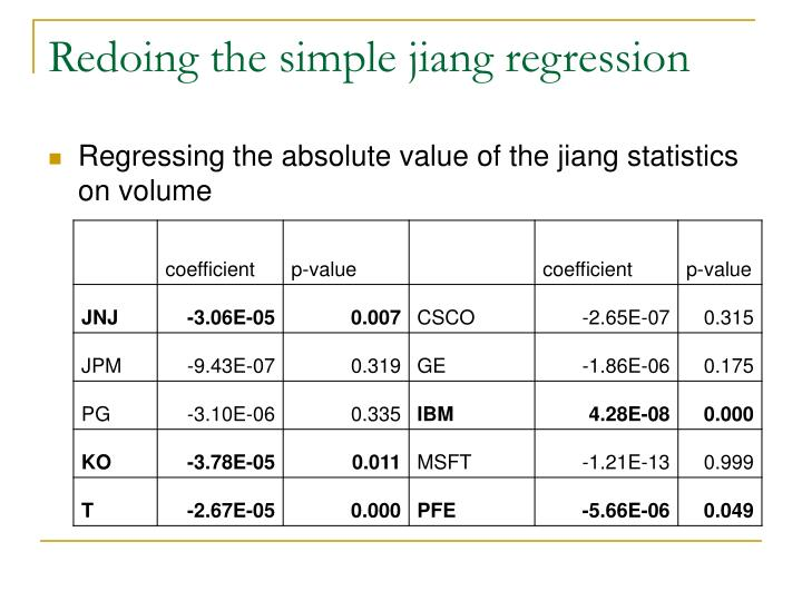 Redoing the simple jiang regression