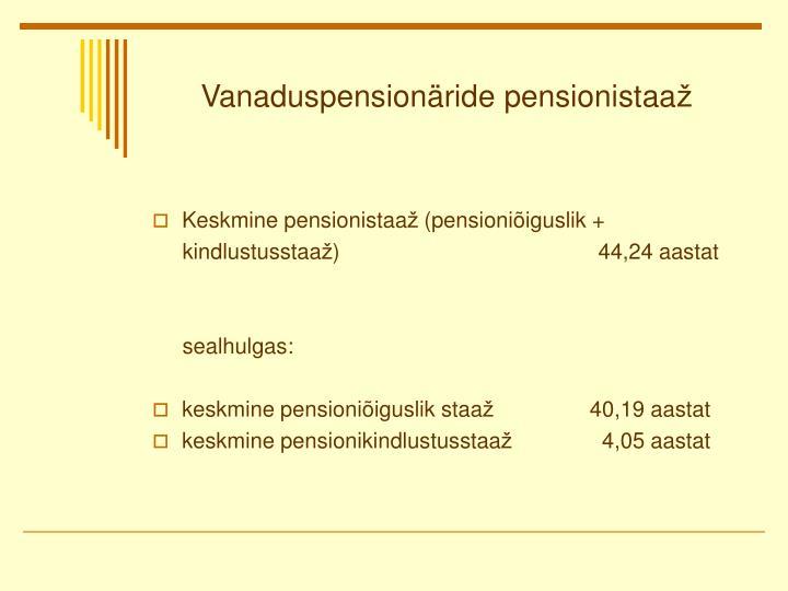 Vanaduspensionäride pensionistaa