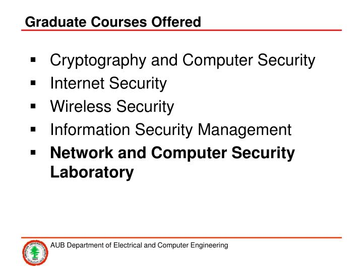 Graduate Courses Offered
