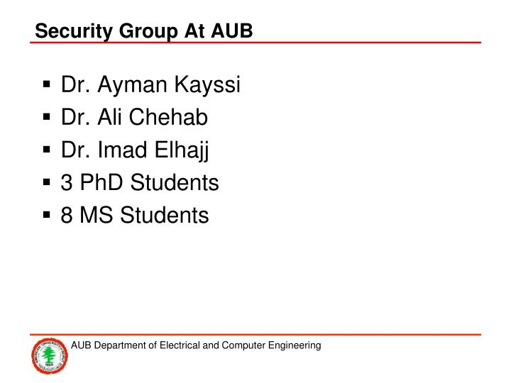 Security Group At AUB