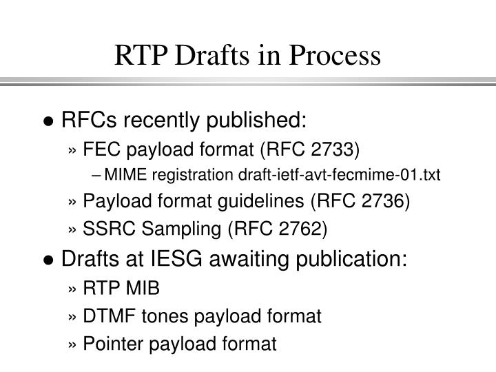 RTP Drafts in Process