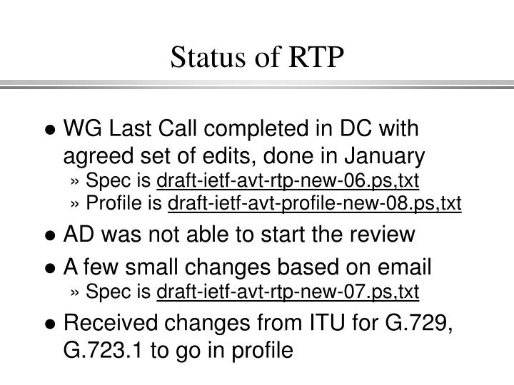 Status of RTP