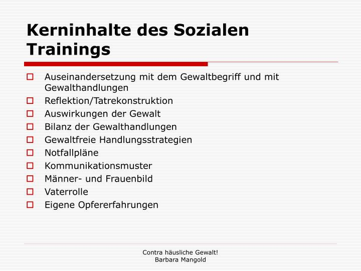 Kerninhalte des Sozialen Trainings