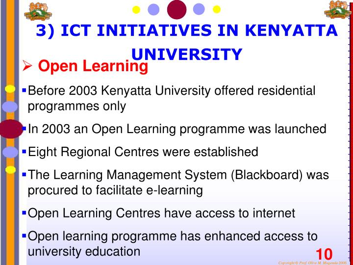 3) ICT INITIATIVES IN KENYATTA UNIVERSITY