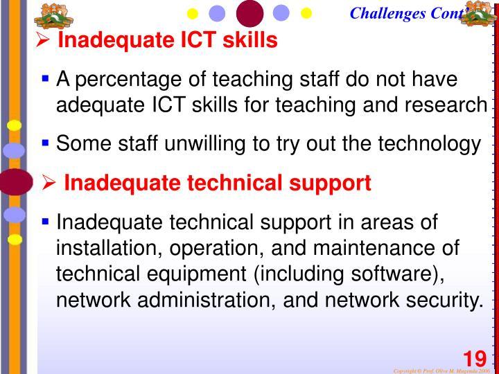Inadequate ICT skills