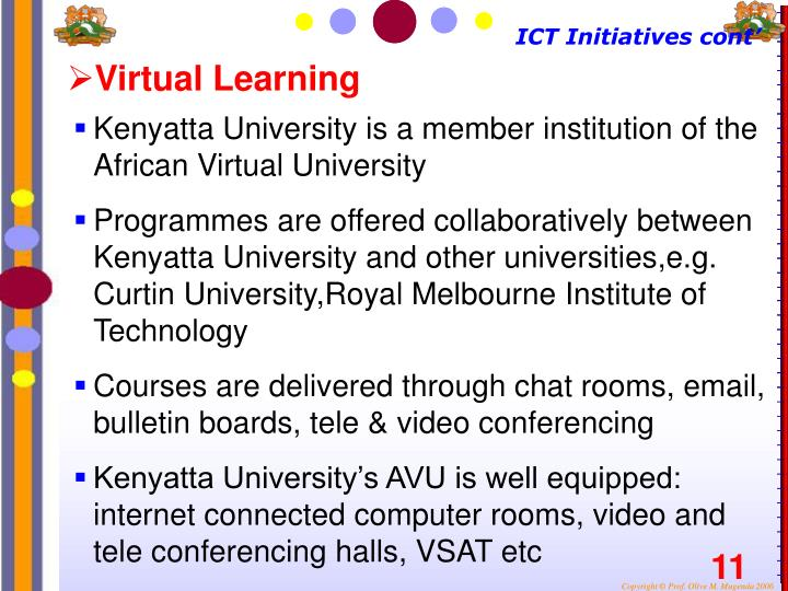 ICT Initiatives cont'