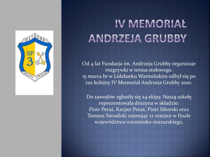 IV memoriał Andrzeja Grubby