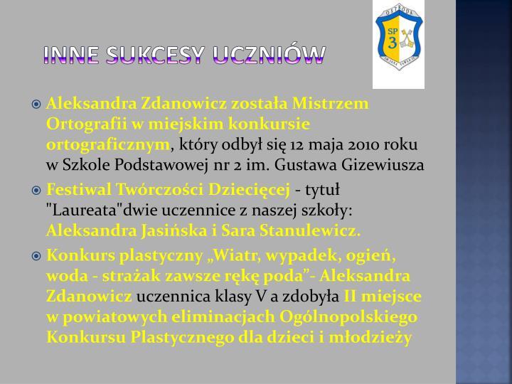 Aleksandra Zdanowicz została Mistrzem Ortografii w miejskim konkursie ortograficznym