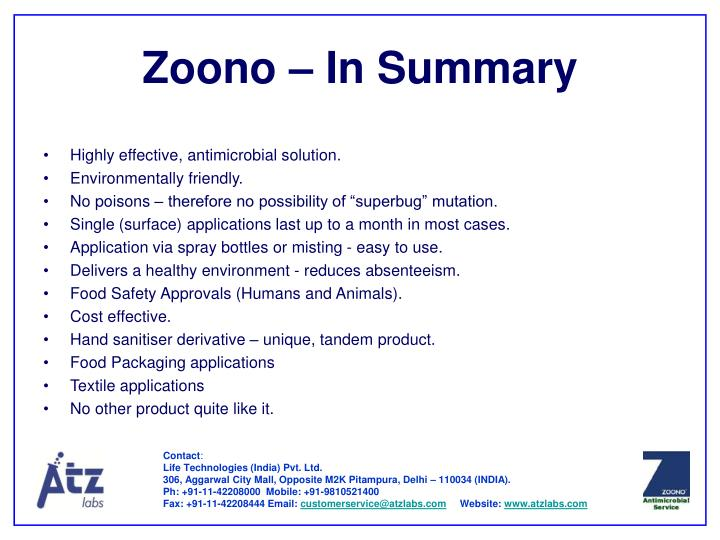 Zoono – In Summary