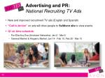 advertising and pr national recruiting tv ads