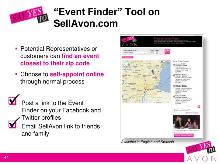 """Event Finder"" Tool on SellAvon.com"
