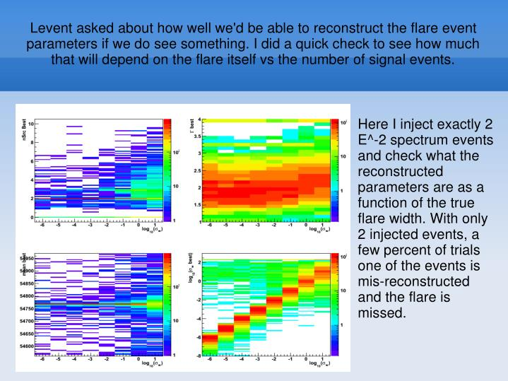 Levent asked about how well we'd be able to reconstruct the flare event parameters if we do see something. I did a quick check to see how much that will depend on the flare itself vs the number of signal events.