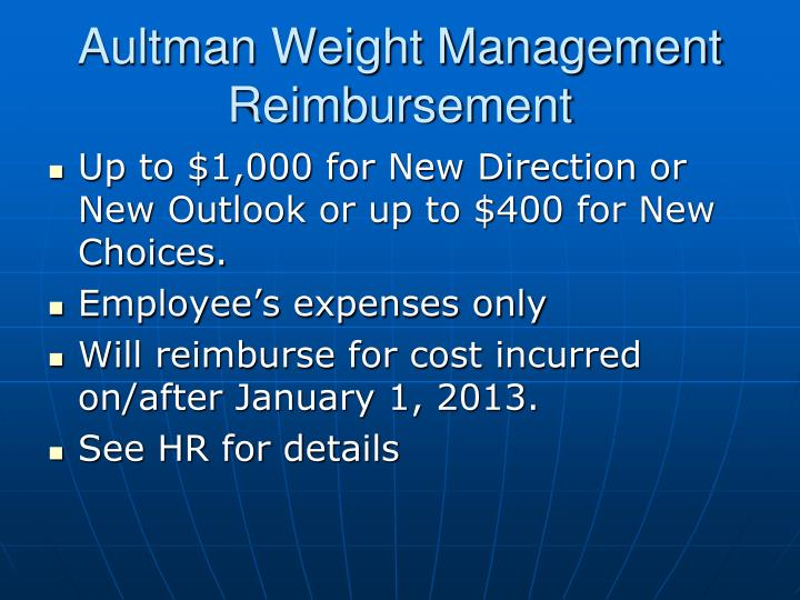Aultman Weight Management Reimbursement