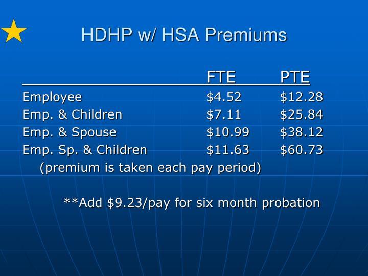 HDHP w/ HSA Premiums