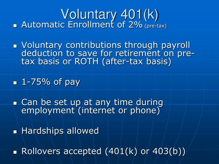 Voluntary 401(k)