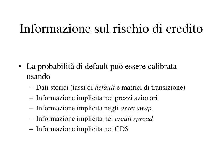 Informazione sul rischio di credito