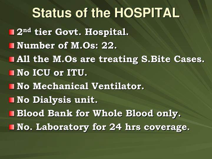 Status of the HOSPITAL