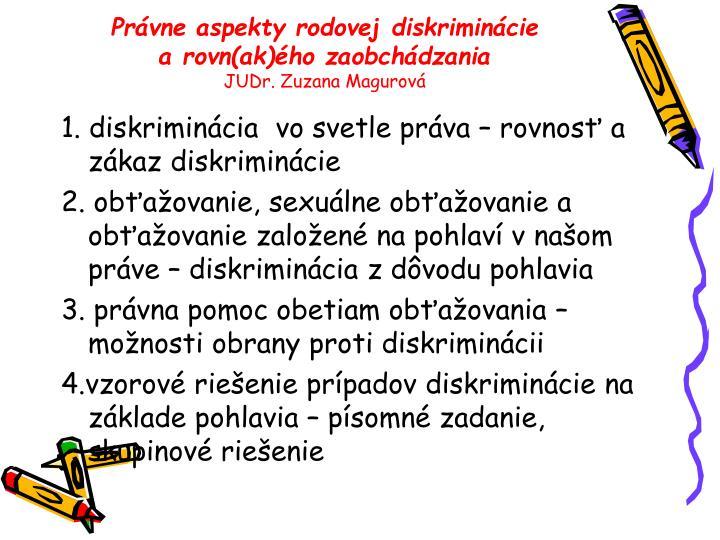 Právne aspekty rodovej diskriminácie arovn(ak)ého zaobchádzania