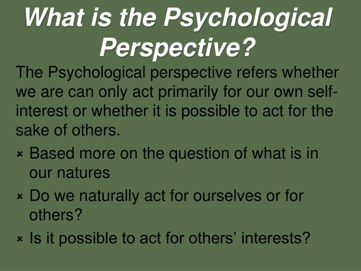 What is the Psychological Perspective?