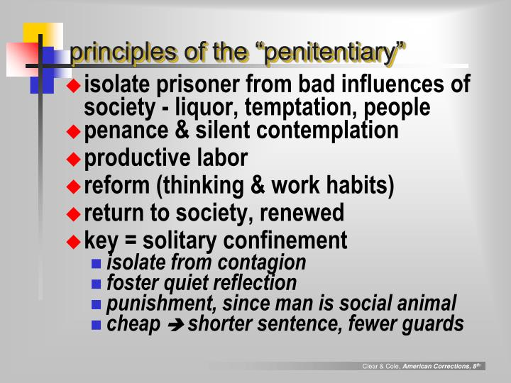"principles of the ""penitentiary"""