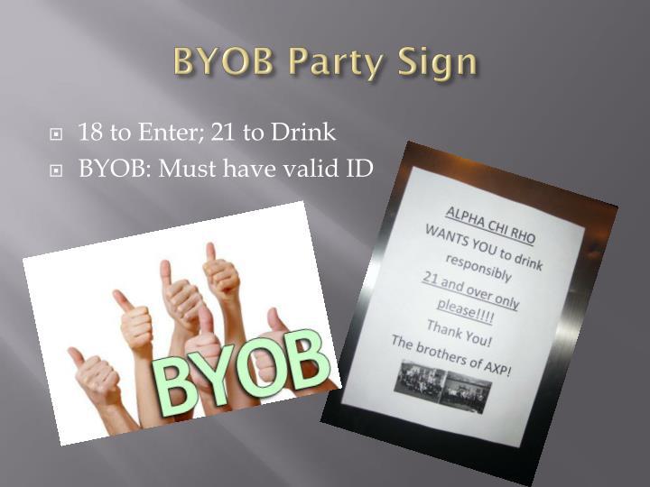 BYOB Party Sign