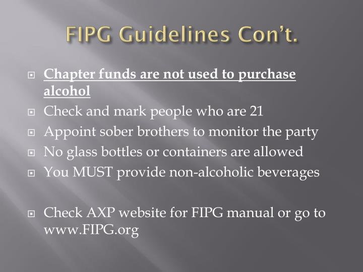FIPG Guidelines Con't.