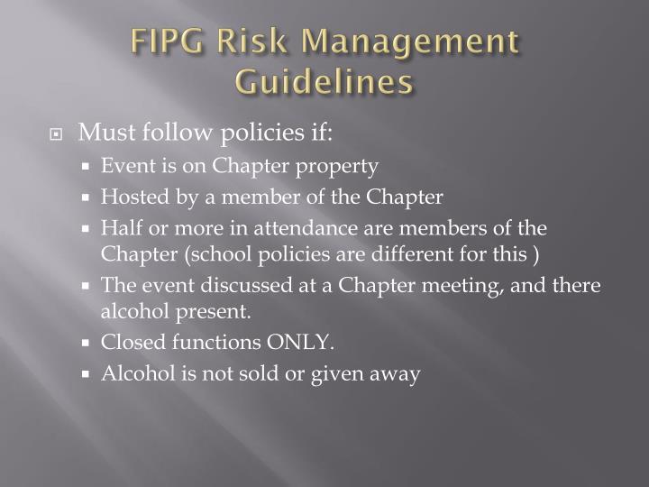 FIPG Risk Management Guidelines