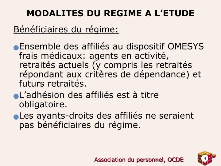 Bénéficiaires du régime: