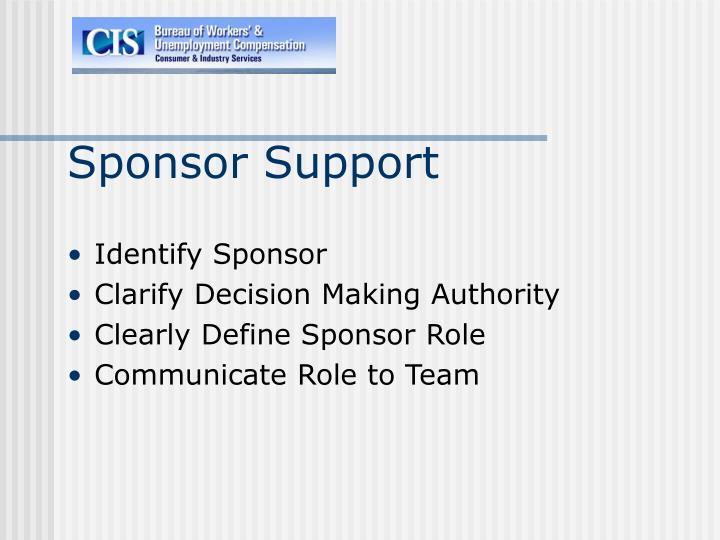 Sponsor Support