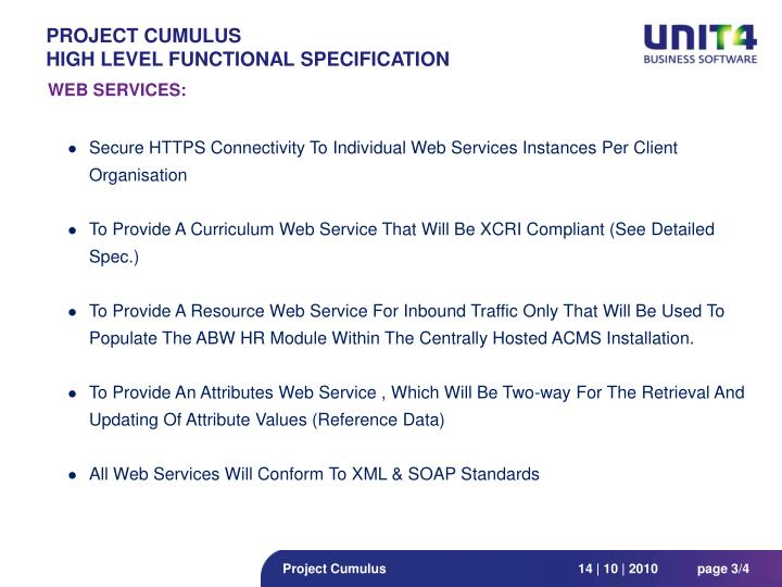 Project cumulus high level functional specification1