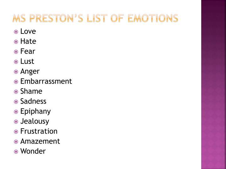 Ms Preston's list of emotions