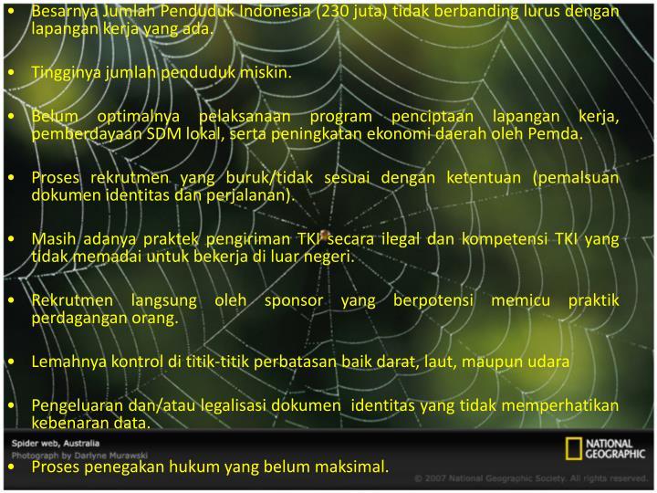 Besarnya Jumlah Penduduk Indonesia (230 juta) tidak berbanding lurus dengan lapangan kerja yang ada