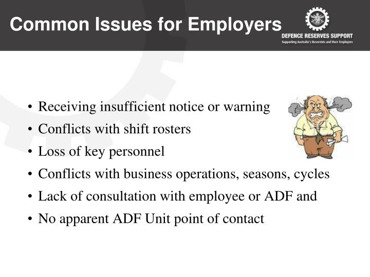 Common Issues for Employers