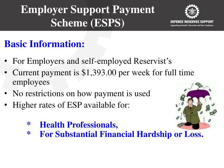 Employer Support Payment Scheme (ESPS)