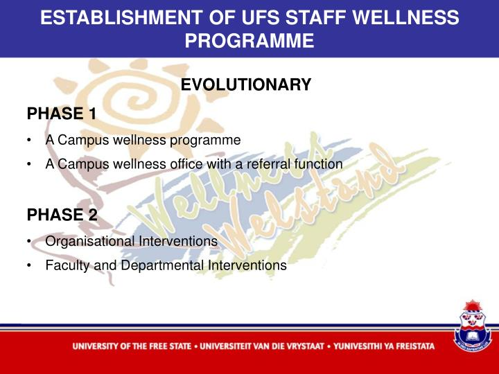ESTABLISHMENT OF UFS STAFF WELLNESS PROGRAMME