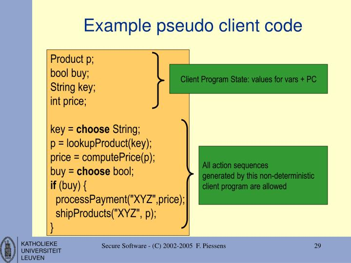 Example pseudo client code