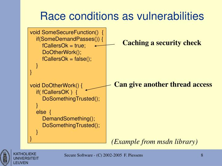 Race conditions as vulnerabilities